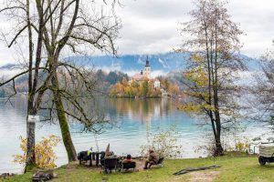 A group of fishermen fishing on lake Bled