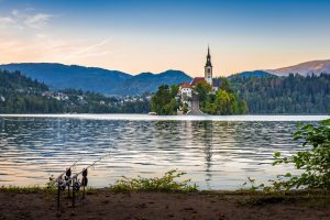 Fishing on beautiful lake Bled