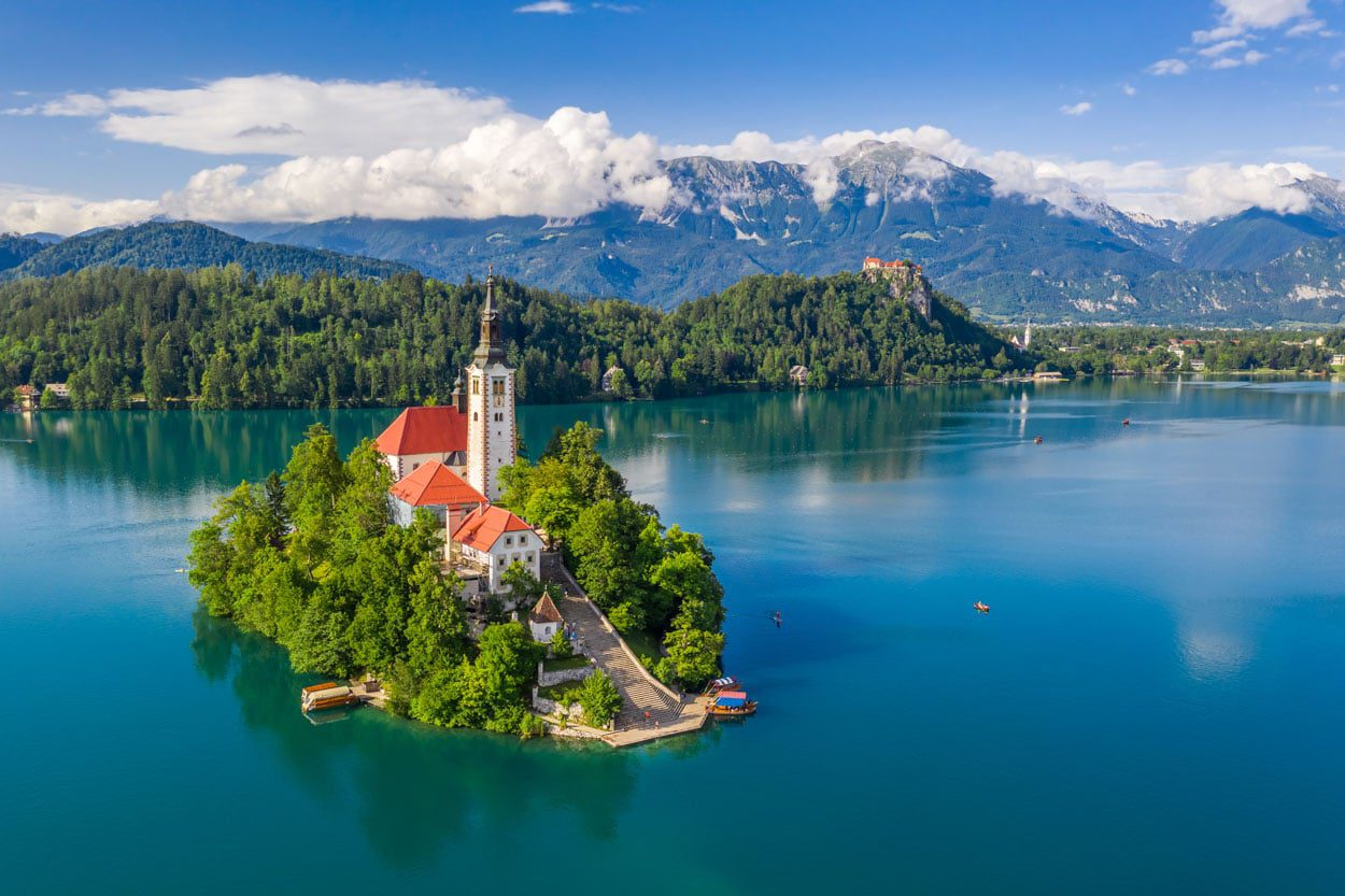 Lake Bled with a small island in the middle