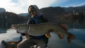 Taking pictures with a big catch on lake Bled