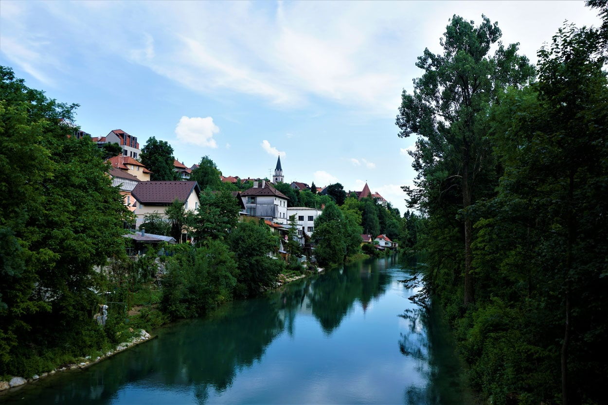 River Sava running through the city of Kranj