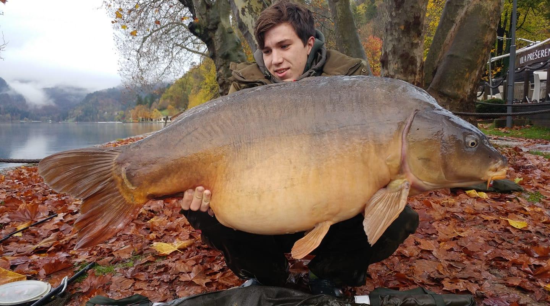 Giant carp caught on Lake Bled