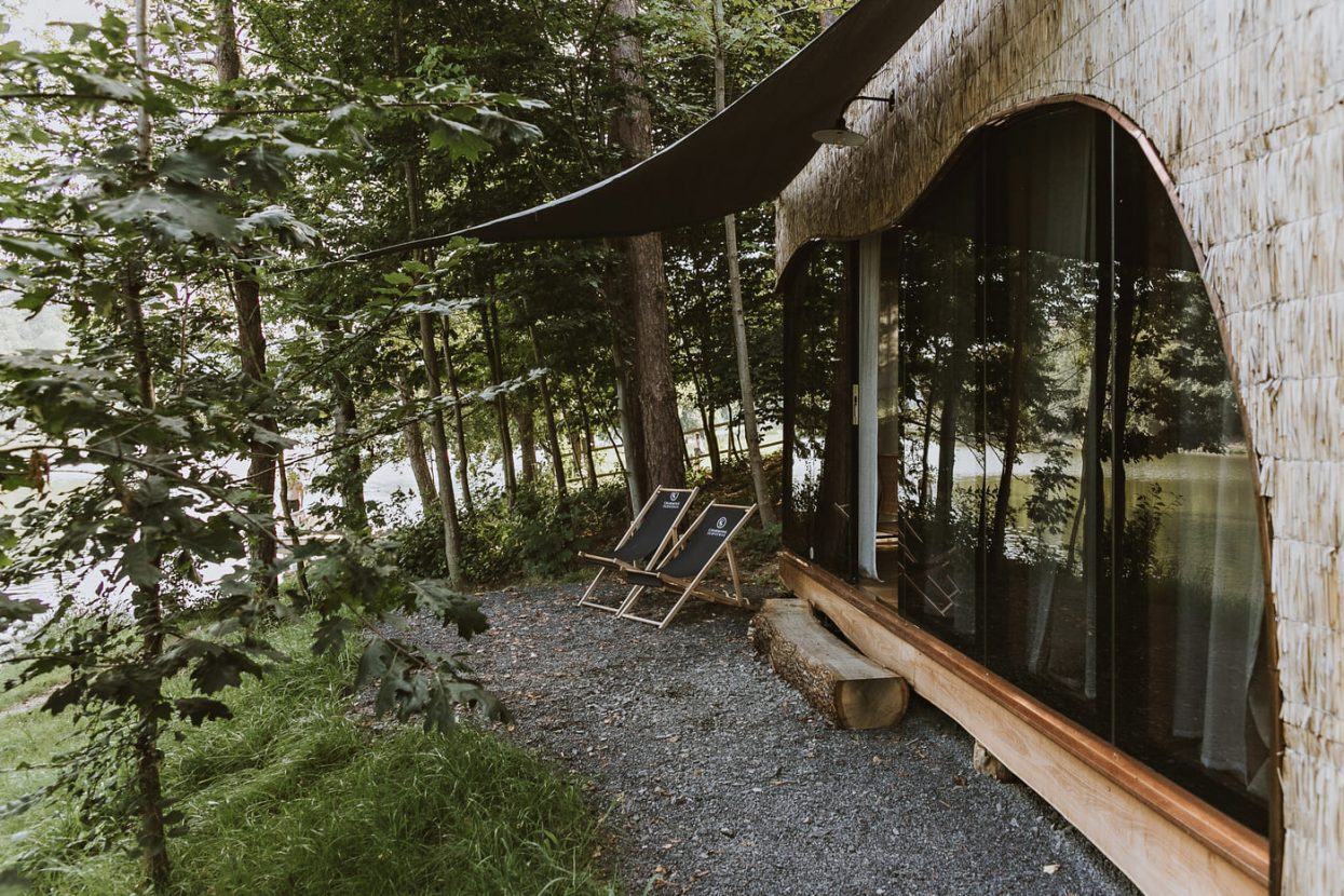 Fishing lodge in the forest