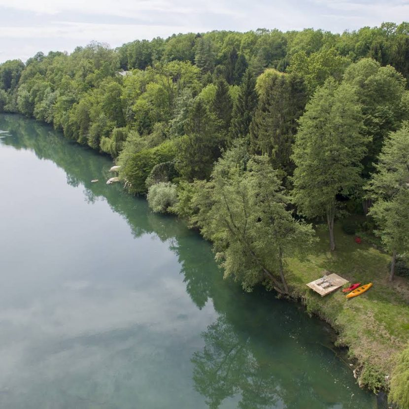 Fly fishing lodge on the bank of the river